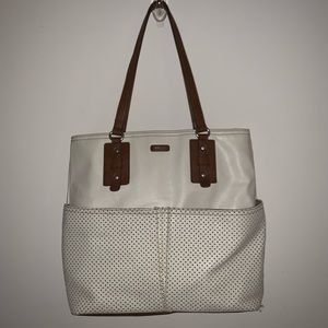 RELIC BY FOSSIL OFF WHITE/IVORY & BROWN TOTE